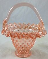 Depression Pink Glass Hobnail Pattern Ruffled Edge Miniature Mini Handled Basket