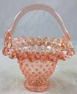 Depression Pink Glass Hobnail Pattern Ruffled Edge Miniature Mini Handled Basket