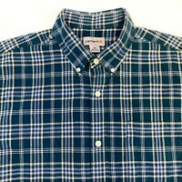 Carhartt Button Up Shirt Men's XL Short Sleeve Blue Plaid Casual 100% Cotton