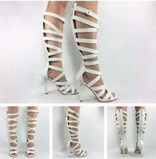 Guess NEW Chrina White Snake Knee High Strappy Club Gladiator Heels Sandals Sz 8