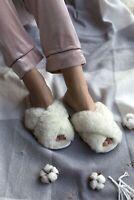 Woman's 100% sheepskin fur Slip On Sandals Bow Flat Mule Summer Sliders Slippers