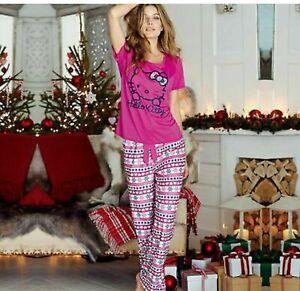 AVON HELLO KITTY FAIR ISLE LONG LEG PYJAMAS WOMENS CHRISTMAS PINK PURPLE 4 - 6