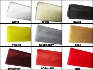"10 YDS ORGANZA Bolt Fabric SHEER Nylon 50"" Wide Party Wedding decor Choose Color"