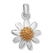 Plata de Ley Dos Tonos Chapado en oro flor margarita colgante