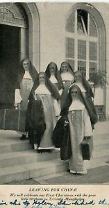 USA Mission Missionary Nuns leaving for China Tsinanfu Jinan 济南 - Hungkialou PPC