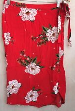 Ladies Bright Red Skirt With Flowers Size 10 F&F<NH6188