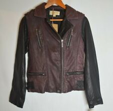 MICHAEL KORS, Women's Motorcycle Jacket, Leather, X Small, Black & Burgundy, NWT