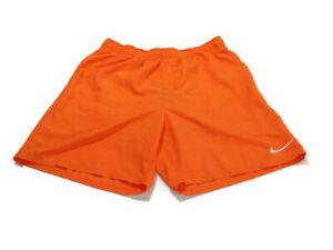 Nike Trunks Orange White Elastic Waist Lined Drawstring Pockets Swim Mens XL