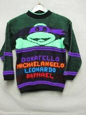 V5945 No Name Ninja Turtles Green/Purple Wool Knit Vintage Sweater Kids 10