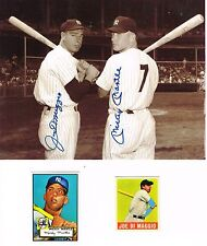 BEAUTIFUL  8X10 PHOTO M.MANTLE & J.DIMAGGIO WITH ROOKIE REPRINT CARDS LOOK