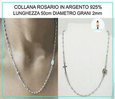 Collana Rosario in Argento 925% da Uomo Donna con Madonna Miracolosa Lunga 50cm