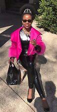 New Designer Adrienne Landau Hot Pink Fox fur trim vest cape jacket Coat S 2-8