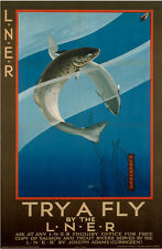 Try A Fly (fishing) (old rail ad.) fridge magnet (se)    REDUCED