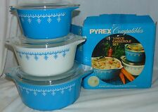 Pyrex SNOWFLAKE BLUE & WHITE *6 PC LARGE CASSEROLE SET w/LIDS* ORIGINAL BOX*