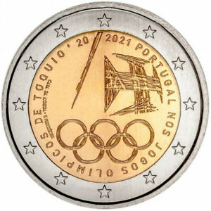 2021 PORTUGAL 2 EURO OLYMPIC GAMES TOKYO JAPAN OLYMPICS UNC NEW FROM ROLL