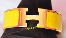 HERMES SOLEIL YELLOW GOLD WIDE CLIC CLAC CUFF PM COLLIER DE CHIEN BRACELET