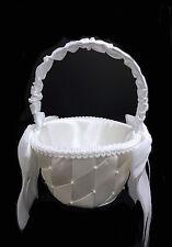 White Criss-Cross Design Flower Girl Basket. Flower Basket. Available Ivory