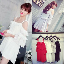 Fashion Korean Women Chiffon Party Cocktail Tunic A Line Loose Summer Mini Dress