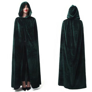 Medieval Velvet Hooded Cloak Women Wicca Long Robe Witchcraft Larp Adult Cape