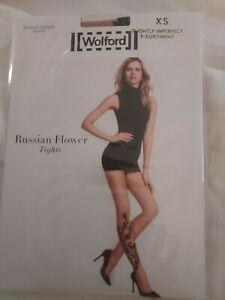 Wolford Russian Flower Tights, gobi/black, Small, slightly imperfect