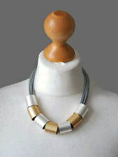 STATEMENT CHUNKY NECKLACE TWO TONE BRUSHED SILVER AND GOLD METAL TUBES ON CORD