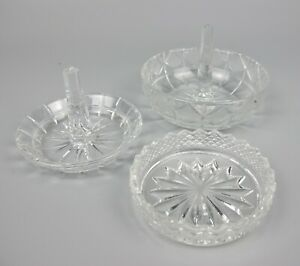 Vintage cut crystal glass Dressing Table Vanity Lot: 2 x Ring Holders & Dish