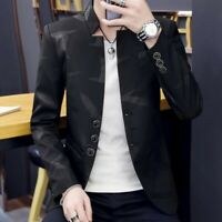 Men Coat Single Breasted Stand Collar Slim Fit Korean Youth Casual Blazer Jacket
