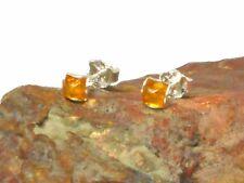 Honey AMBER   Sterling  Silver  925  Earrings / STUDS  -  5 x 5 mm