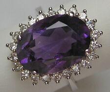 Queen ♛ Diamant Ring in aus 585 Gold Ring mit Brillant ♛ top Amethyst Brillanten