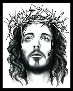 """10 x 8"""" JESUS CHRIST CRUCIFIED WITH A CROWN OF THORNS METAL WALL PLAQUE SIGN R22"""