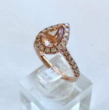GENUINE 1CT PEAR MORGANITE & .75ct DIAMOND HALO RING 9CT ROSE GOLD