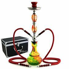 Glass Hookah Bong Red Bowl Pipe Shisha Tobacco Smoke Charcoal Bob Marley Rasta