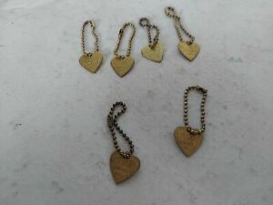 Lot of 6 Effanbee Durable Dolls Metal Hang Tag Charm Gold Tone Heart