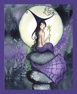 Full Moon Witch Mermaid print from Original Painting By Grimshaw Halloween