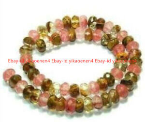 """5X8mm Faceted Rondelle Watermelon Tourmaline Gemstone loose Beads 15"""""""