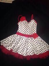 Red White And Black Polka Dot Jazz Tap Lyrical Costume Dress Medium Mc Girls