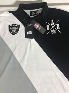 Oakland Raiders Cotton Rugby Polo Diagonal Stripe Size 2XL NWT Official Gear