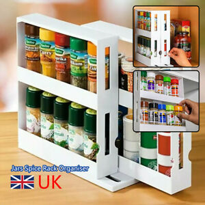 2 Tier Rotating Spice Rack Spice Jars Organiser Cabinet Kitchen Storage Shelf