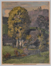 Listed Swiss Artist Victor Baumgartner, Original Signed Pastel, Chacol & Gouache