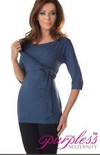 BLUE 2 in 1 maternità & assistenza infermieristica a Maniche Corte Wrap Top Taglia UK 14 EU 42 jeans colore