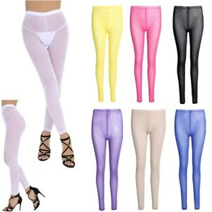 Women Sports Pants Fitness Slim Leggings Transparent Mesh Trousers Soft Lingerie