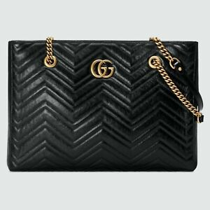 Gucci GG Marmont Black Leather Quilted Matelasse Bag 524578 57438E F