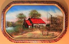 VINTAGE REVERSE PAINTED SWEETWELL COTTAGE BUBBLE GLASS