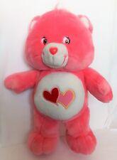 "Care Bear Lov a Lot  Bear 20"" Pink Large Plush Stuffed Toy Hearts Tummy 2002"