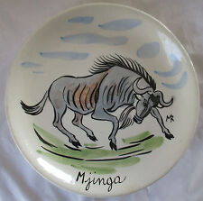 TASCA ITALY HAND PAINTED AFRICAN WILDLIFE POTTERY PLATE - GNU / WILDEBEEST
