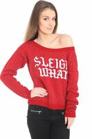 New Ladies Women Knitted Long Sleeve Wide Neck Christmas Xmas Jumper Top Sweater