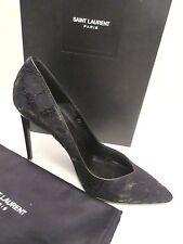 $795 Saint Laurent Women's Paris Lace Black and leather Pumps size US 9   39 NEW