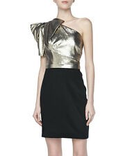 Notte by Marchesa Black/Gold 100% Silk One Shoulder Cocktail Dress Sz 10