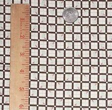 Brown White Rose Squares Checked Plaid Vintage Retro NTT Cotton Fabric OOP FQ