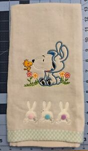 Snoopy and Woodstock Easter Bunny Hand Towel - embroidered
